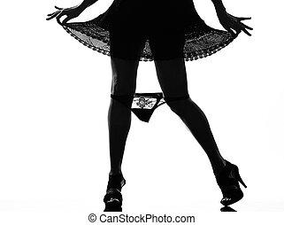 elegante, mostrando, panties, silueta, dela