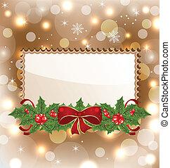 elegante, muérdago, tarjeta de navidad, arco