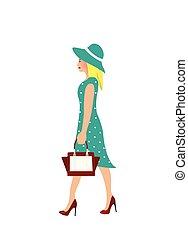 elegante, mujer, con, vestido azul, ambulante