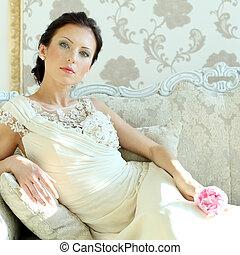 elegante, mujer hermosa, modelo, retrato