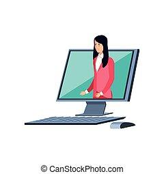 elegante, mulher, computador, desktop empresarial
