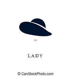 elegante, mulher, hat.