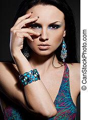 elegante, mulher, jóia, na moda