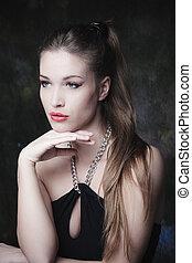 elegante, mulher, jovem, beleza, retrato