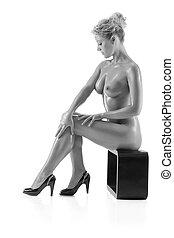 elegante, mulher nua, monocromático, foto