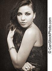 elegante, mulher, retro, sensual, retrato