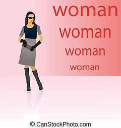 elegante, mulher, simbólico, figura