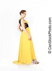 elegante, mulher, vestido, amarela