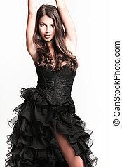 elegante, mulher, vestido