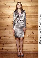 elegante, mulher, vestido, prata