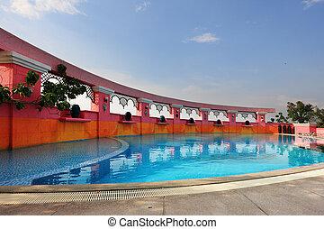 elegante, natação, vigésimo, piscina, chão