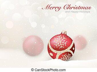 elegante, natal, saudação, com, vermelho, baubles