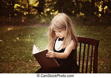 elegante, niño, lectura, educación, libro, exterior