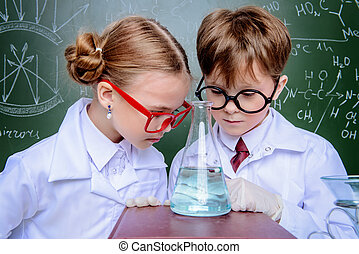 elegante, niños, científicos