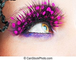 elegante, ojos, mujer, pestañas