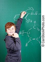 elegante, orgulloso, niño, en, clase de química