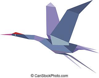 elegante, origami, vuelo, grúa, o, garza