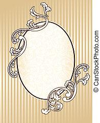 elegante, oval, vendimia, sepia, marco