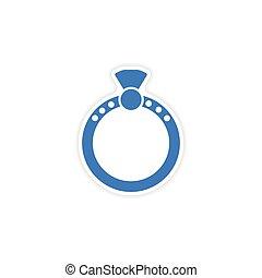 elegante, papel, adesivo, branco, fundo, anel