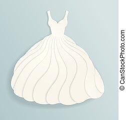 elegante, papel, silueta, de, casamento branco, vestido