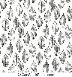 elegante, patrón, con, leafs, dibujado, en, delgado, líneas