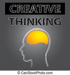 elegante, pensamiento creativo, cerebro