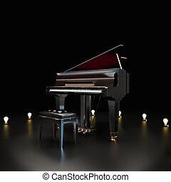 elegante, pianoforte, centro, stage.