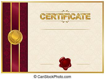 elegante, plantilla, de, certificado, diploma