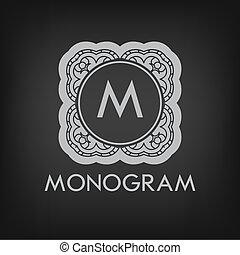 elegante, plantilla, lujo, monogram, monocromo, diseño, ...