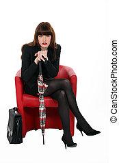 elegante, poltrona, negócio mulher, sentando