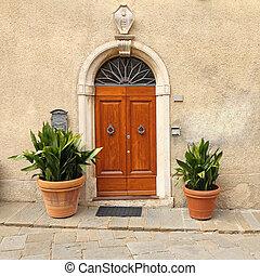 elegante, porta frente, para, a, tuscan, casa
