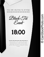 elegante, pretas, a4, modelo, convite, laço, evento