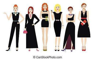 elegante, pretas, atraente, vestidos, mulheres