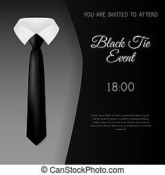 elegante, pretas, modelo, convite, laço, evento