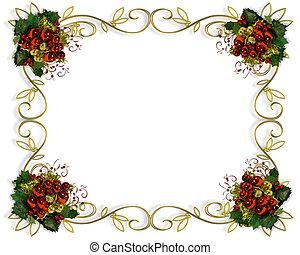 elegante, quadro, borda, natal