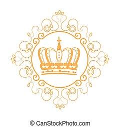 elegante, quadro, com, coroa