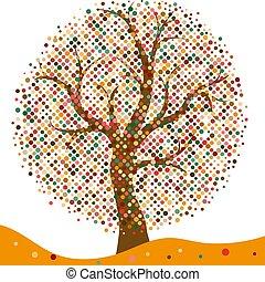 elegante, quadro, com, stylized, outono, árvore