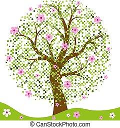 elegante, quadro, com, stylized, primavera, árvore