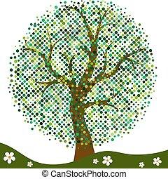 elegante, quadro, com, stylized, verão, árvore