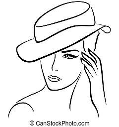 elegante, ragazza, cappello