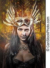 elegante, rainha, jovem, com, dourado, máscara, antiga,...