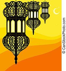 elegante, ramadan, lanterna