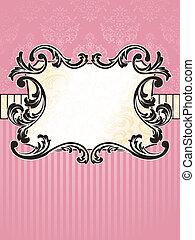 elegante, rectangular, vendimia, francés, etiqueta