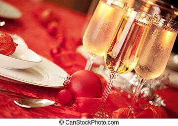 elegante, regolazione, natale, tavola rossa