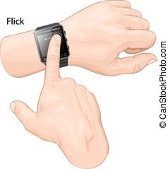 elegante, reloj, gesture., gesto, flick.