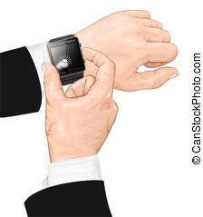 elegante, reloj, gesture.