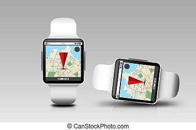 elegante, relojes, con, gps, navegante, mapa, en, pantalla