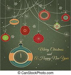 elegante, retro, ornamentos, natal