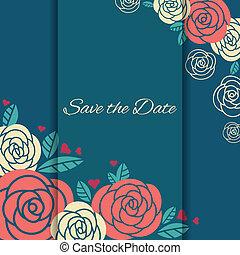 elegante, roses., scheda, matrimonio