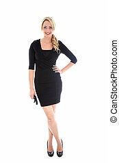 elegante, rubio, mujer, vestido negro